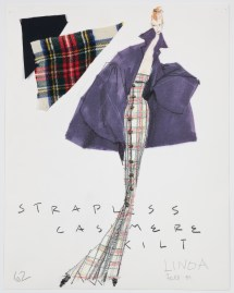 Isaac Mizrahi, sketch for Extreme Kilt, fall 1989. Credit Line: Photograph by Richard Goodbody, the Jewish Museum, New York